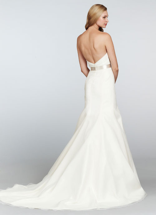 blush ivory strapless bridal gown with chapel train 02
