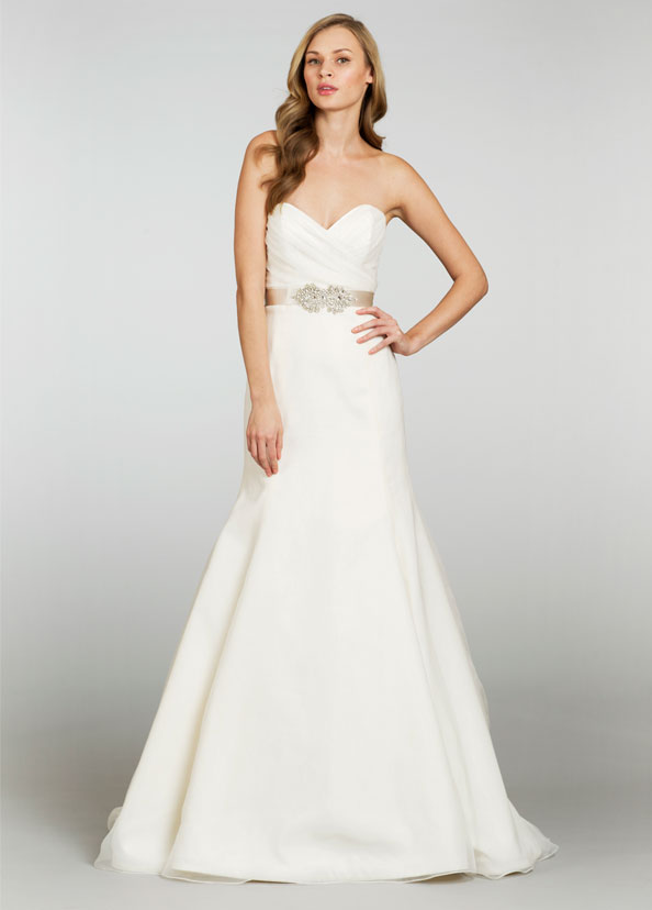 Blush Or Ivory Wedding Dresses : The third collection is ivory strapless bridal gown with lace and
