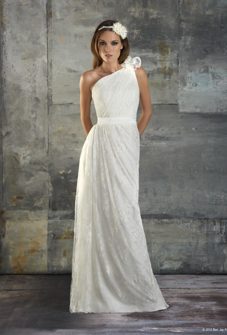bari jay one shoulder wedding dress fall 2013