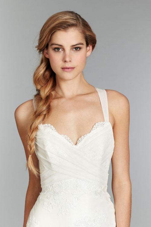 blush ivory slim lace bridal gown fall 2013 with sweetheart
