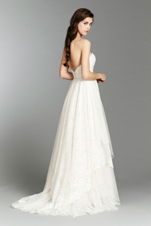 blush ivory strapless a-line bridal gown fall 2013 with chapel train