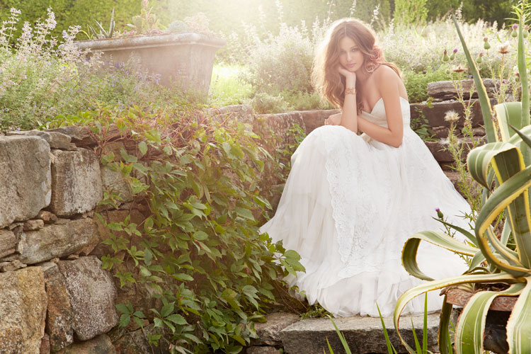 blush ivory strapless a-line bridal gown fall 2013 with lace
