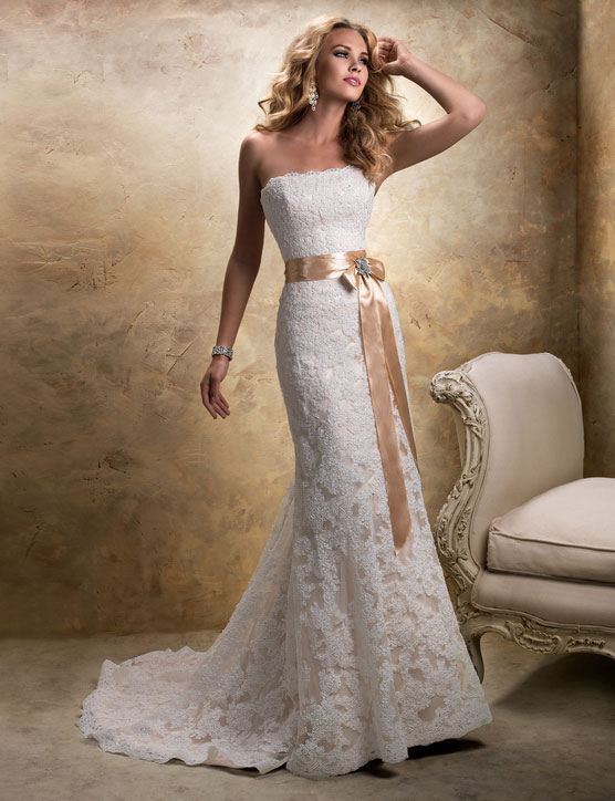 accessorized lace wedding gown