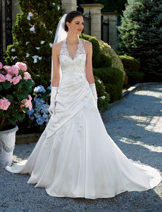 halter-cut lace wedding gown