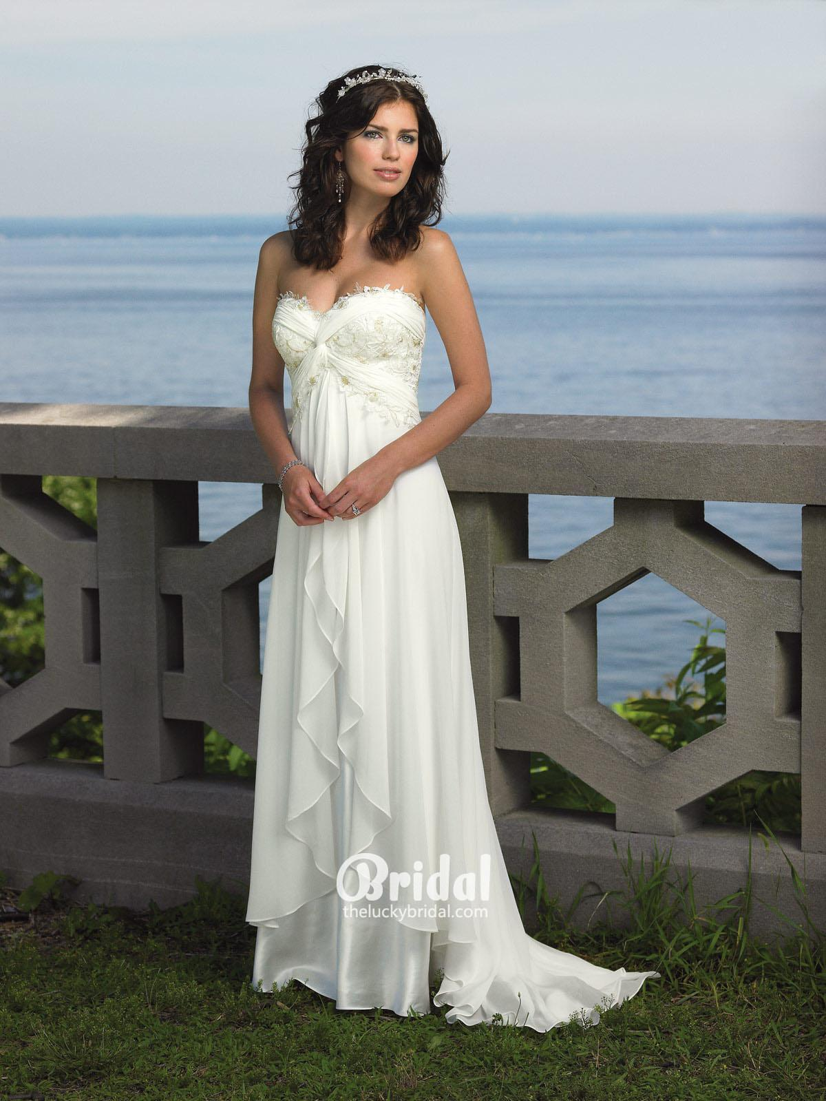 empire waist beach wedding dress with strapless sweetheart neckline