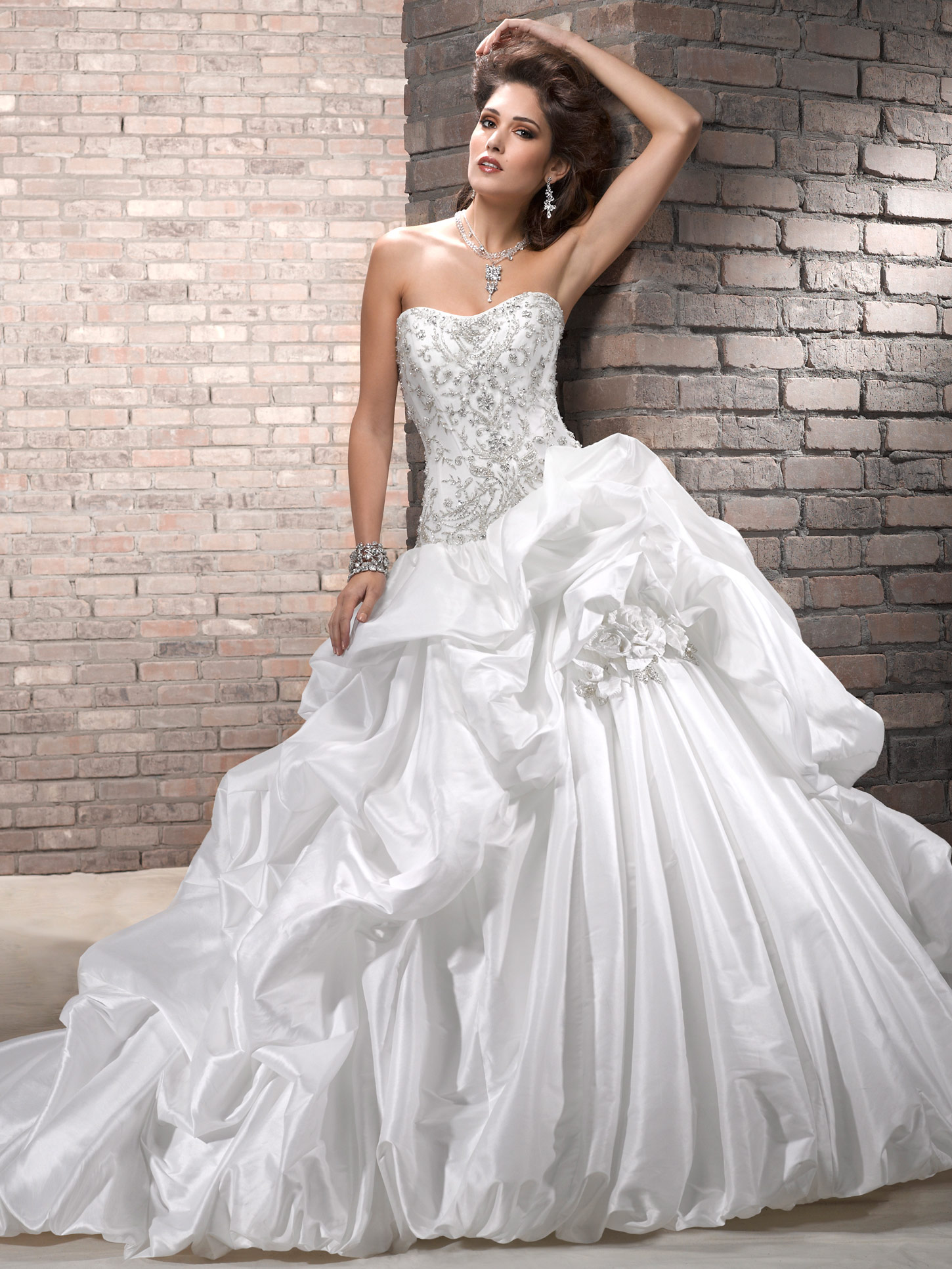 taffeta strapless ball gown wedding dresses