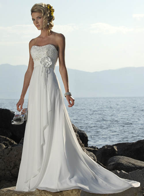 tulle strapless beach wedding dresses