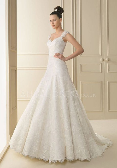 A Line Lace Wedding Dresses With Short Sleeves Sang Maestro