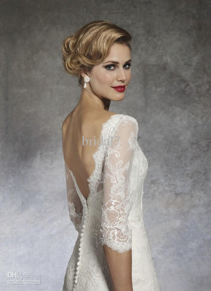 boat neck lace wedding dress with 3 per 4 sleeves