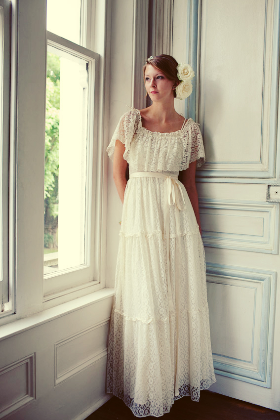 elegant vintage lace wedding dress with flowers