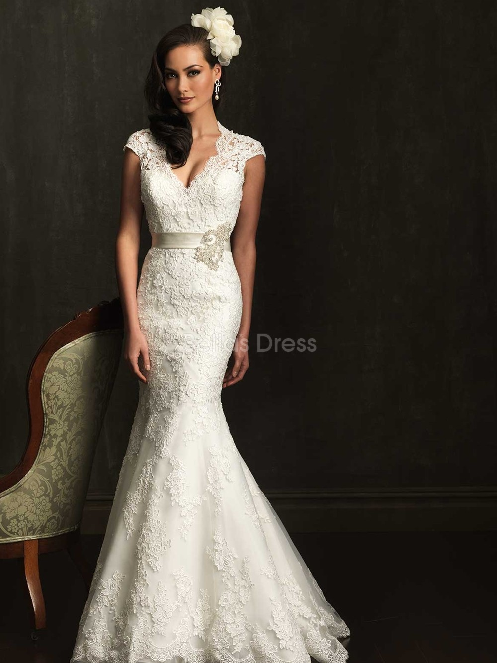 Wedding Dresses  Lace Sleeves : Lace mermaid wedding dress with short sleeves sang maestro