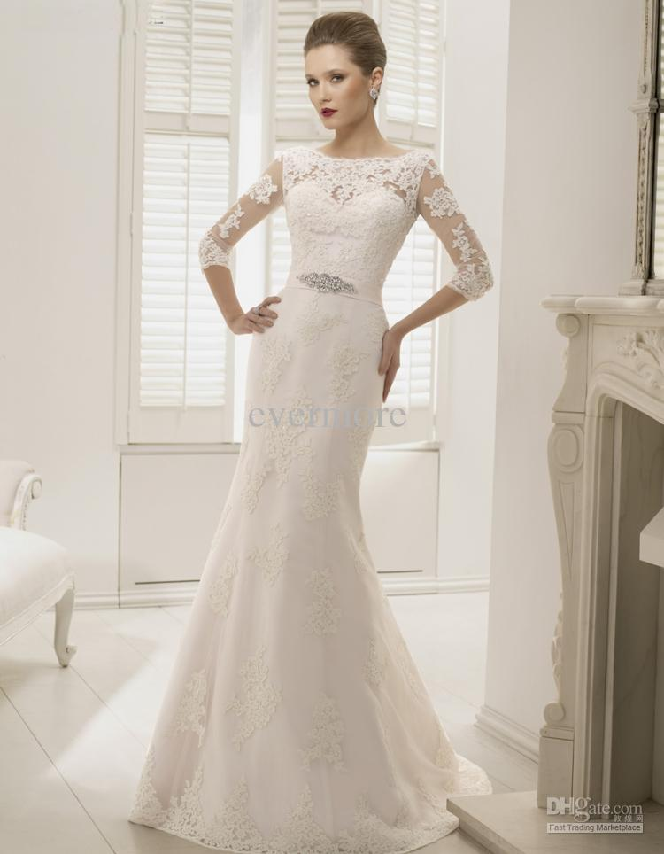 lace wedding dress with 3/4 sleeves and court train
