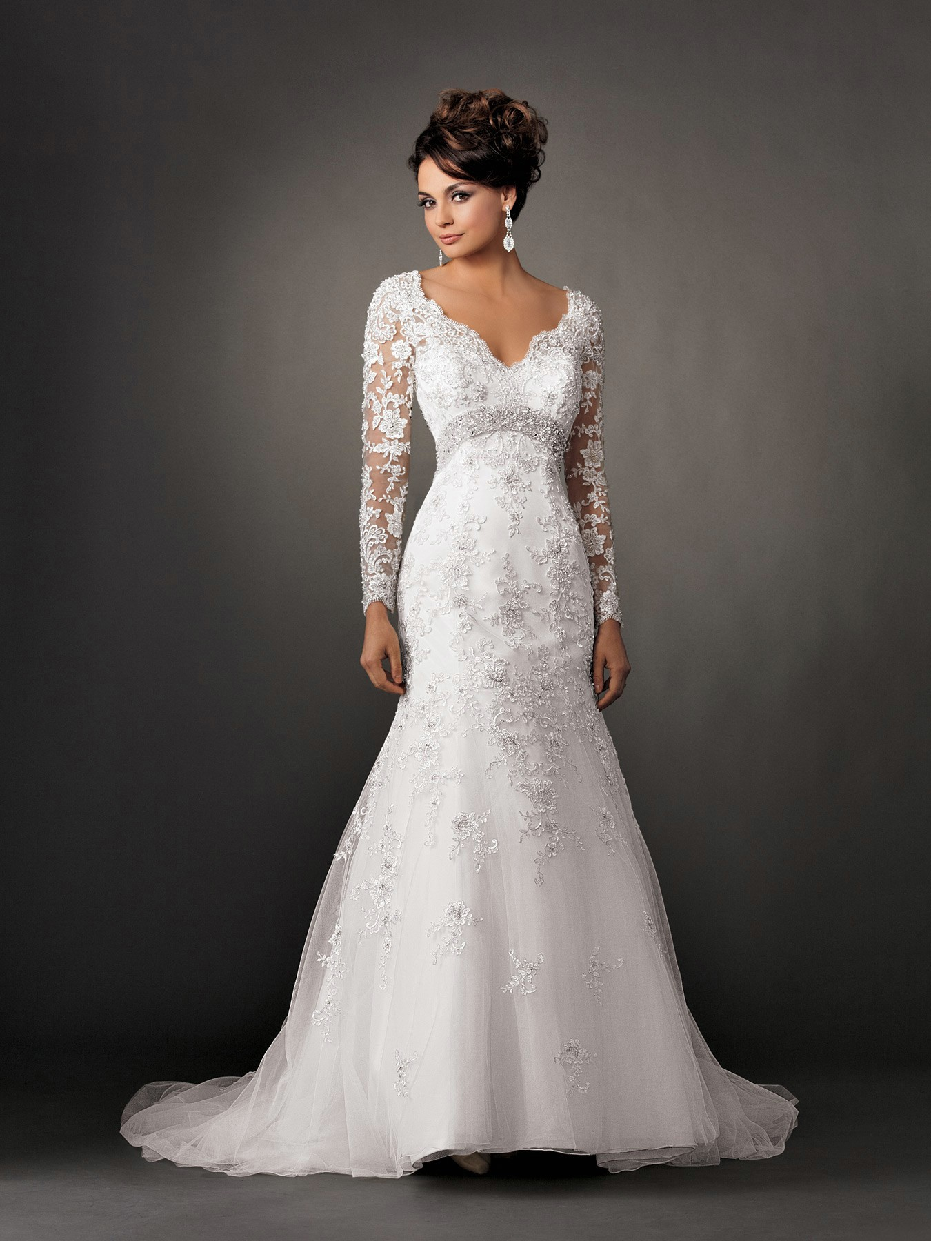 Lace wedding dress with long sleeves and a line sang maestro for Long sleeve dresses to wear to a wedding