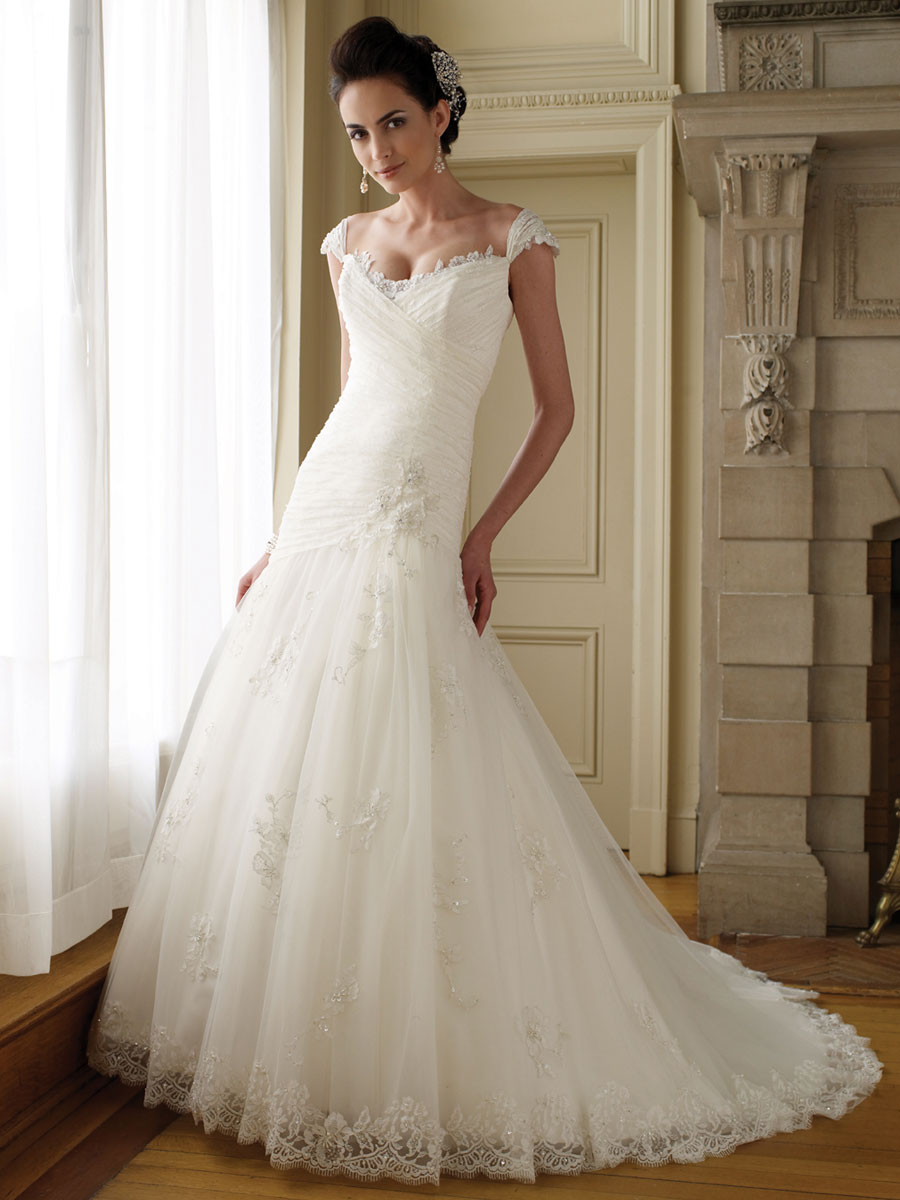 dazzling collections of lace wedding dresses with cap