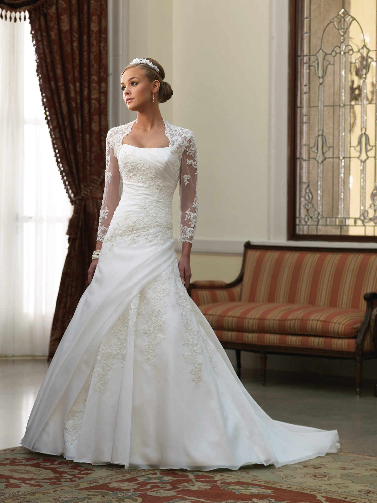a-line lace wedding dress with illusion