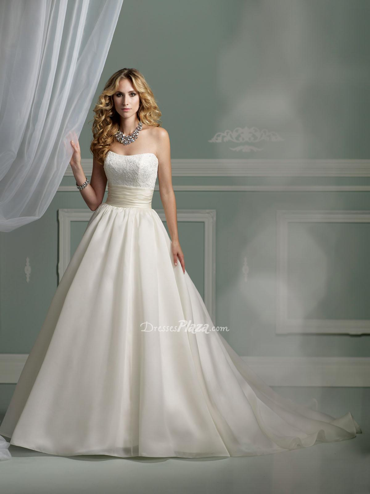 princess satin strapless wedding dress with lace