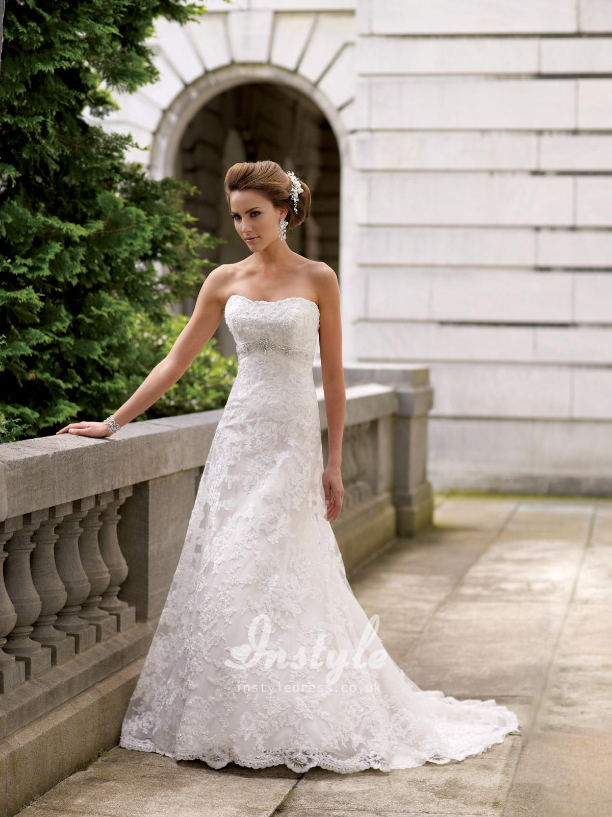 strapless embroidered lace wedding dress sang maestro