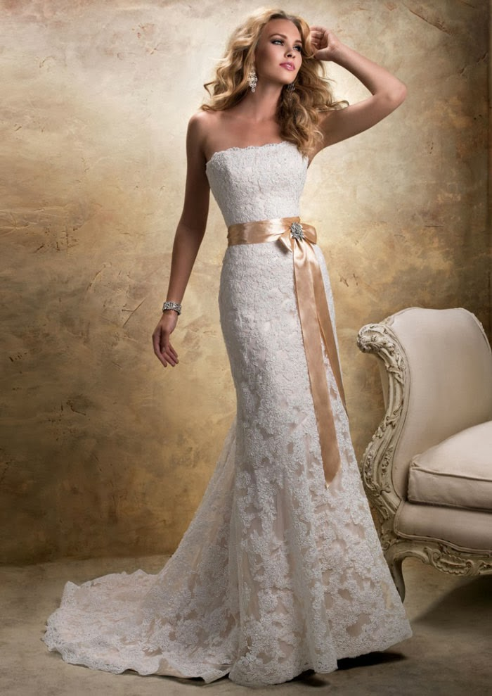 Strapless Lace Wedding Dress With Sash Sang Maestro