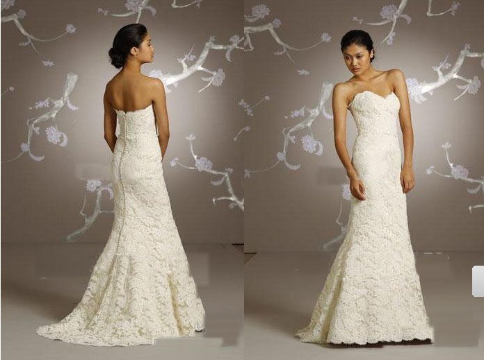 Strapless Vintage Lace Wedding Dresses Classical And