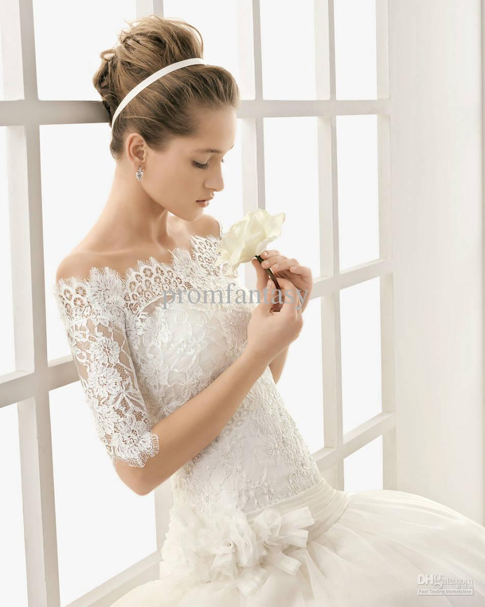 vintage lace off the shoulder wedding dress with short sleeves