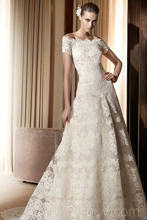 vintage lace off the shoulder wedding dresses with a-line