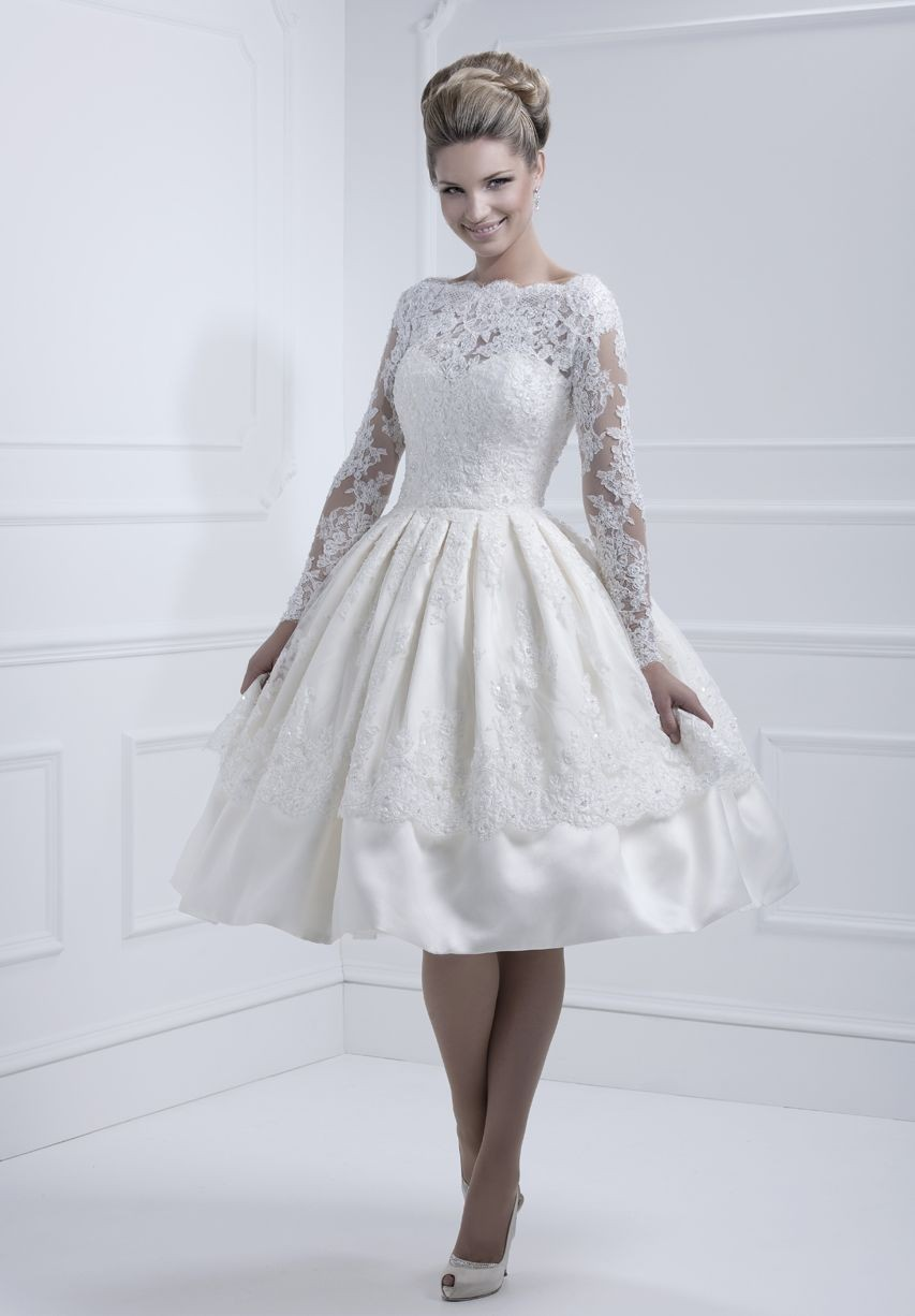 vintage lace sleeves wedding dresses with tea length