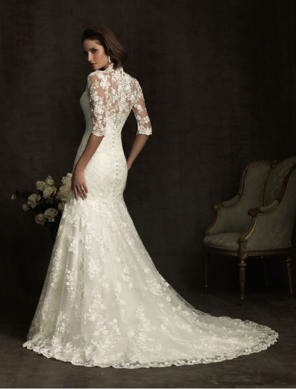 vintage lace wedding dress with 3/4 lace sleeves