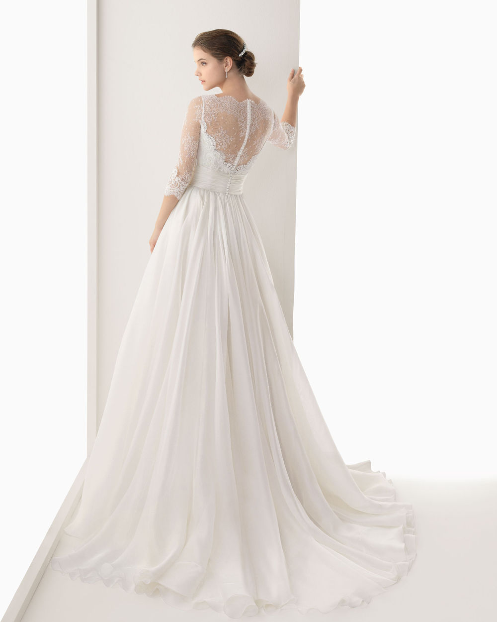 2014 organza a-line wedding dress with long sleeves | Sang Maestro