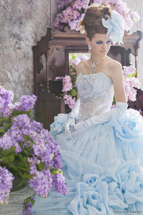 blue colored strapless neckline wedding dress from stella de libero