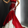 colored mermaid wedding dress with strapless neckline