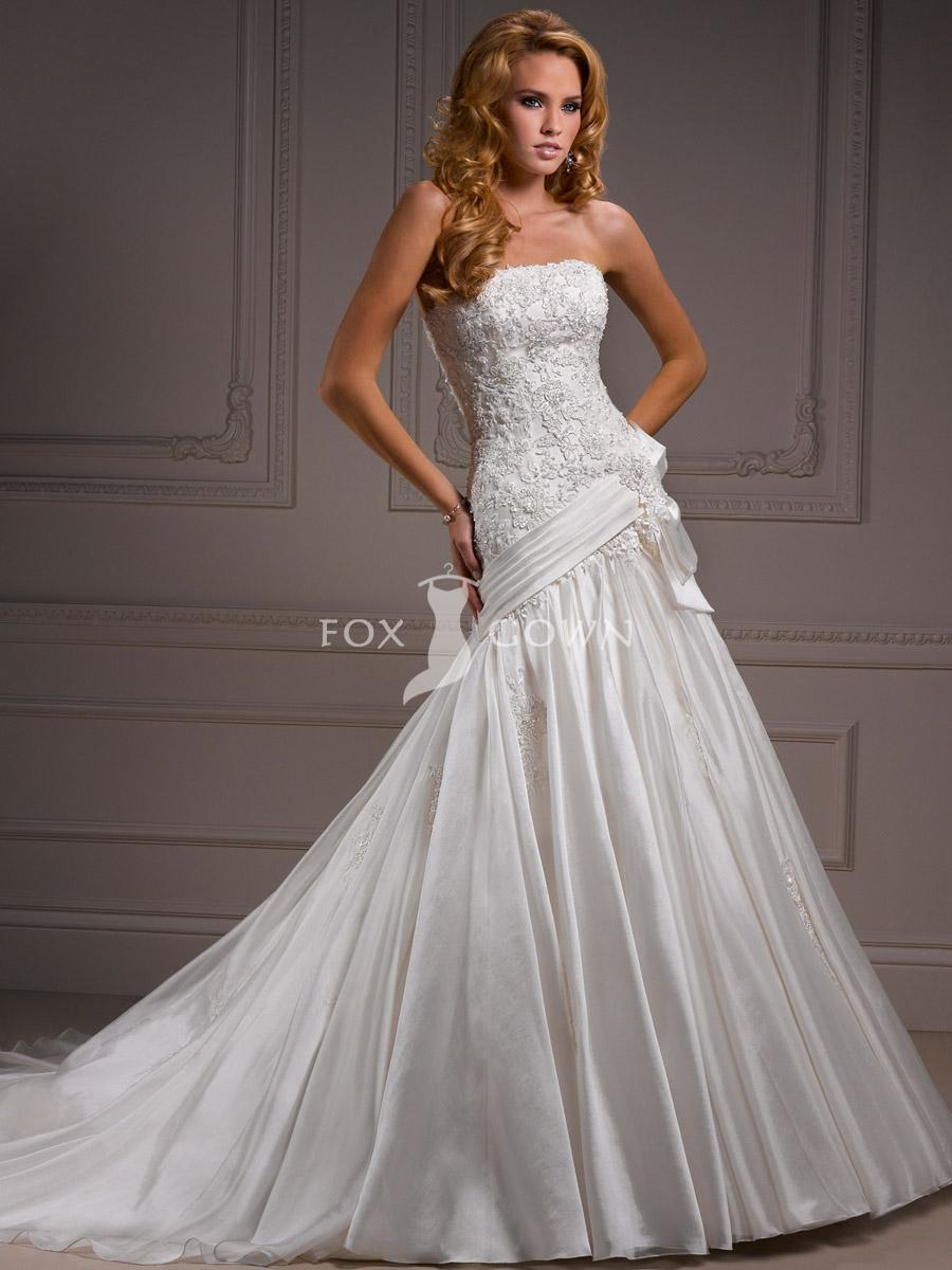 elegant and lovely organza dropped waist wedding dresses