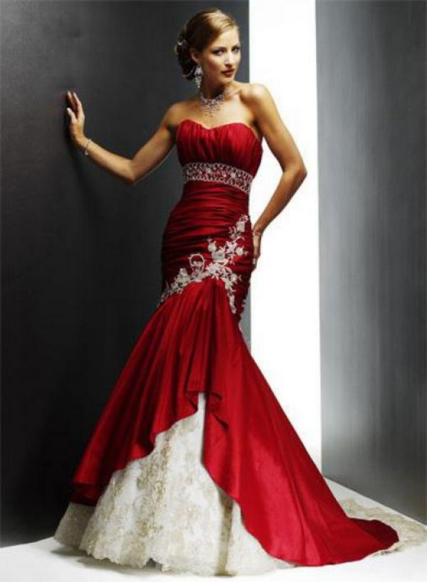 elegant red wedding dresses