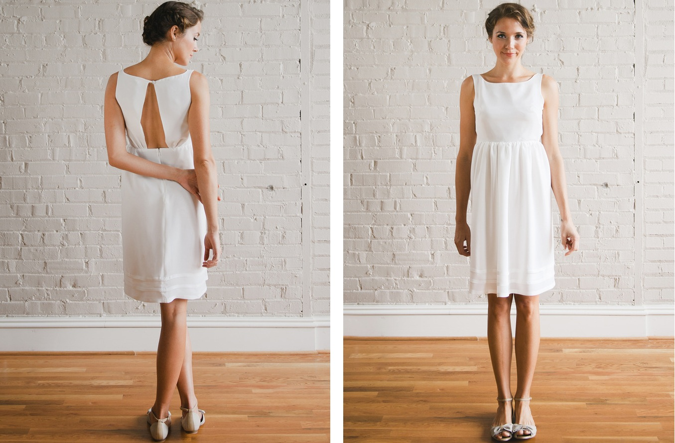 elegant simple short wedding dress sang maestro