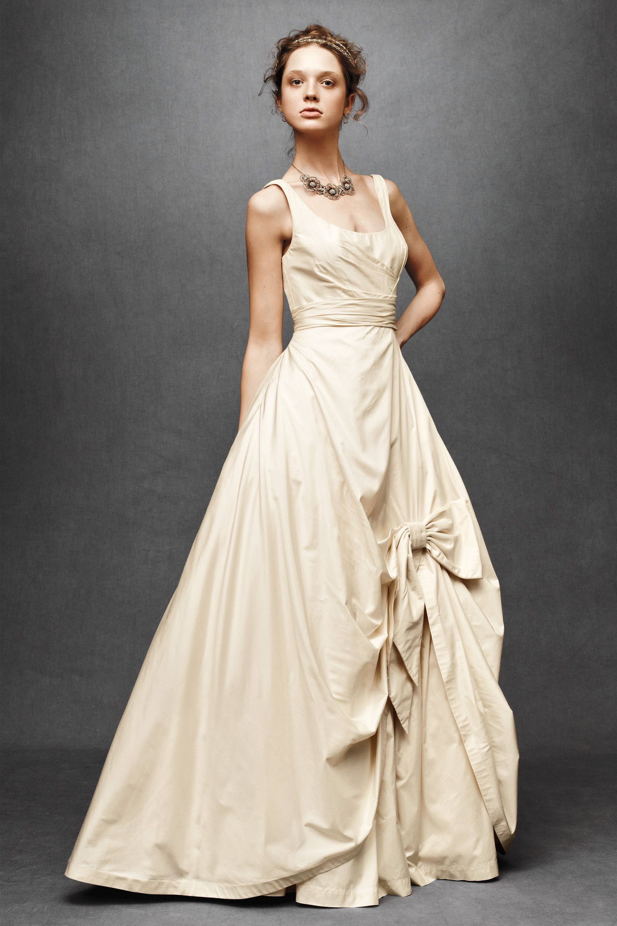 ivory retro wedding dress with straps