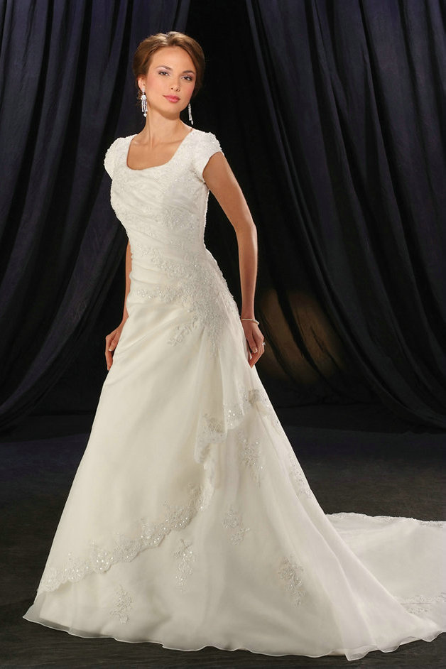 organza a-line wedding dress with short sleeves