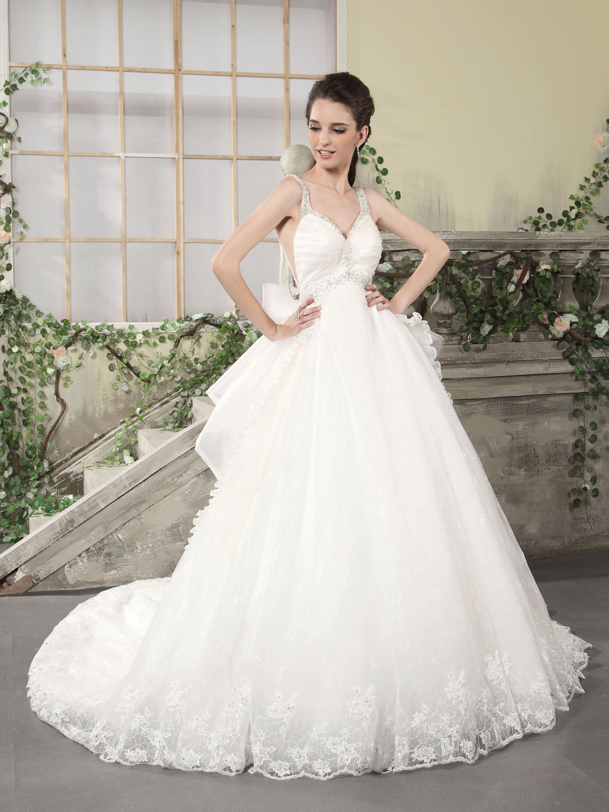 organza empire ball gown wedding dress with straps