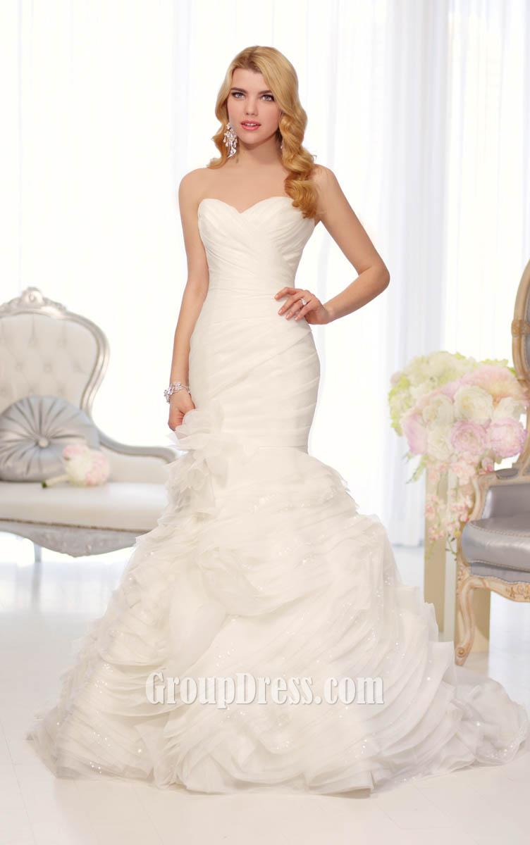 organza fit and flare wedding dress with sweetheart neckline