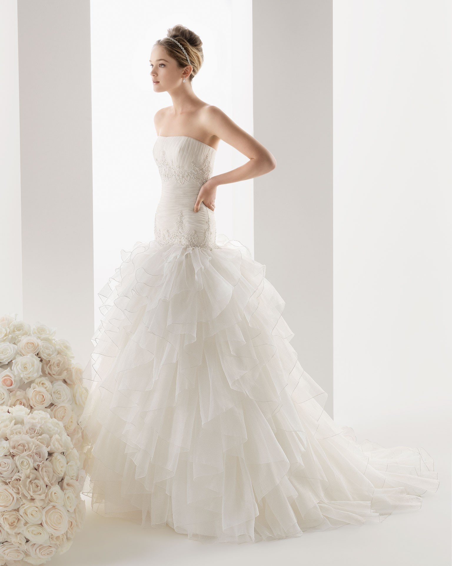 organza strapless wedding dress with chapel train