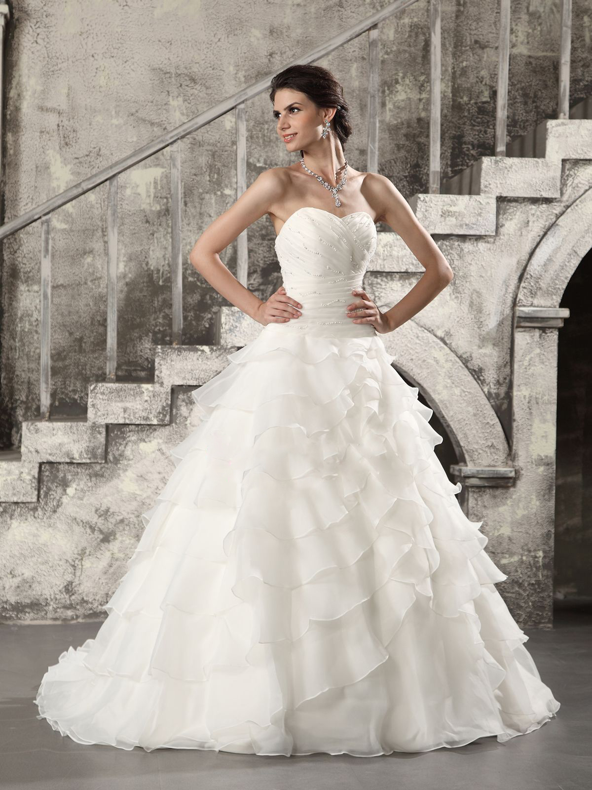 elegant photos of organza wedding dresses with ruffles