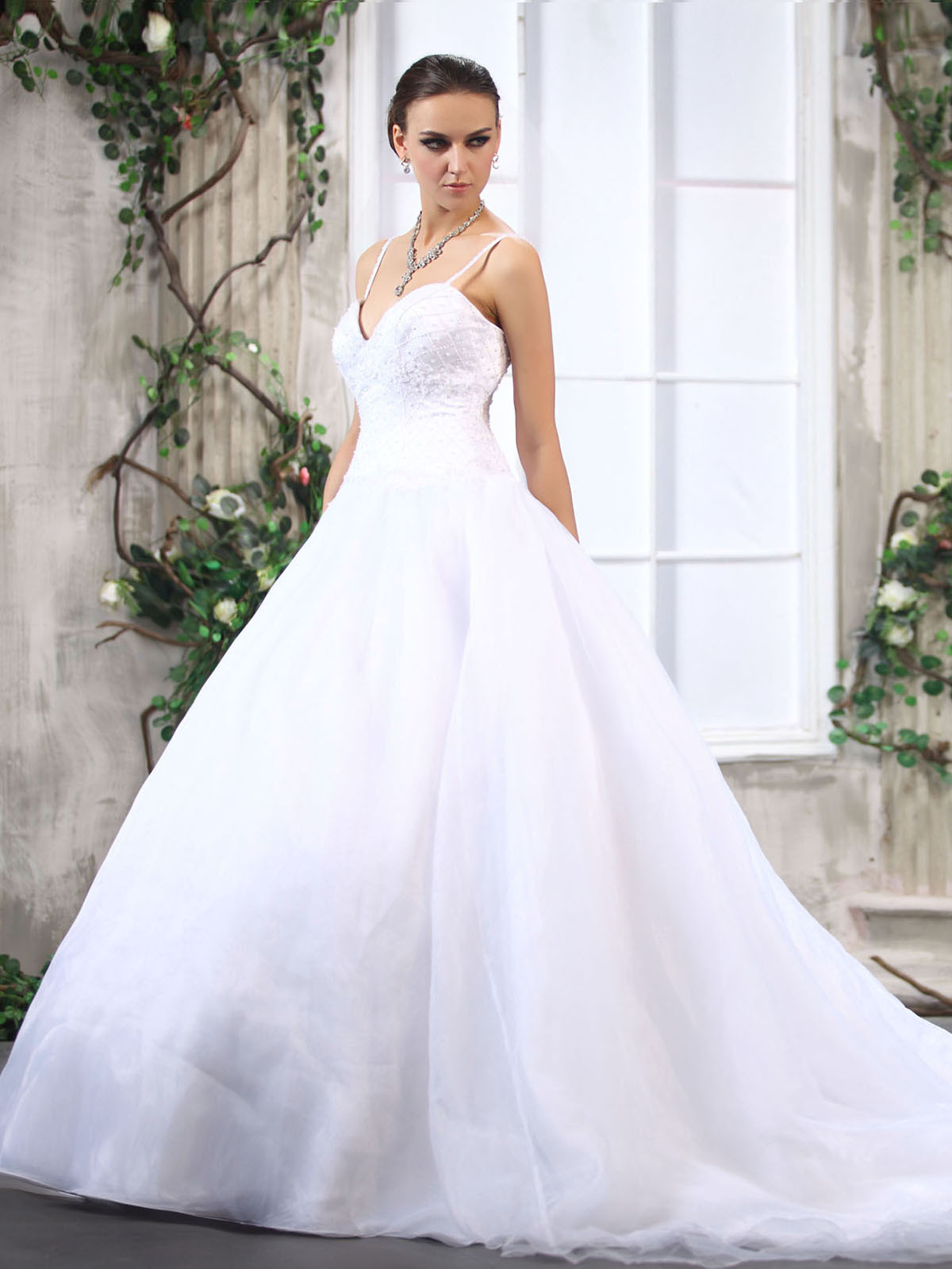 organza wedding dress with spaghetti straps