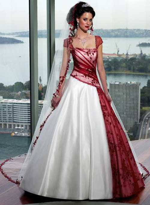Red Wedding Dress With White Accent Sang Maestro