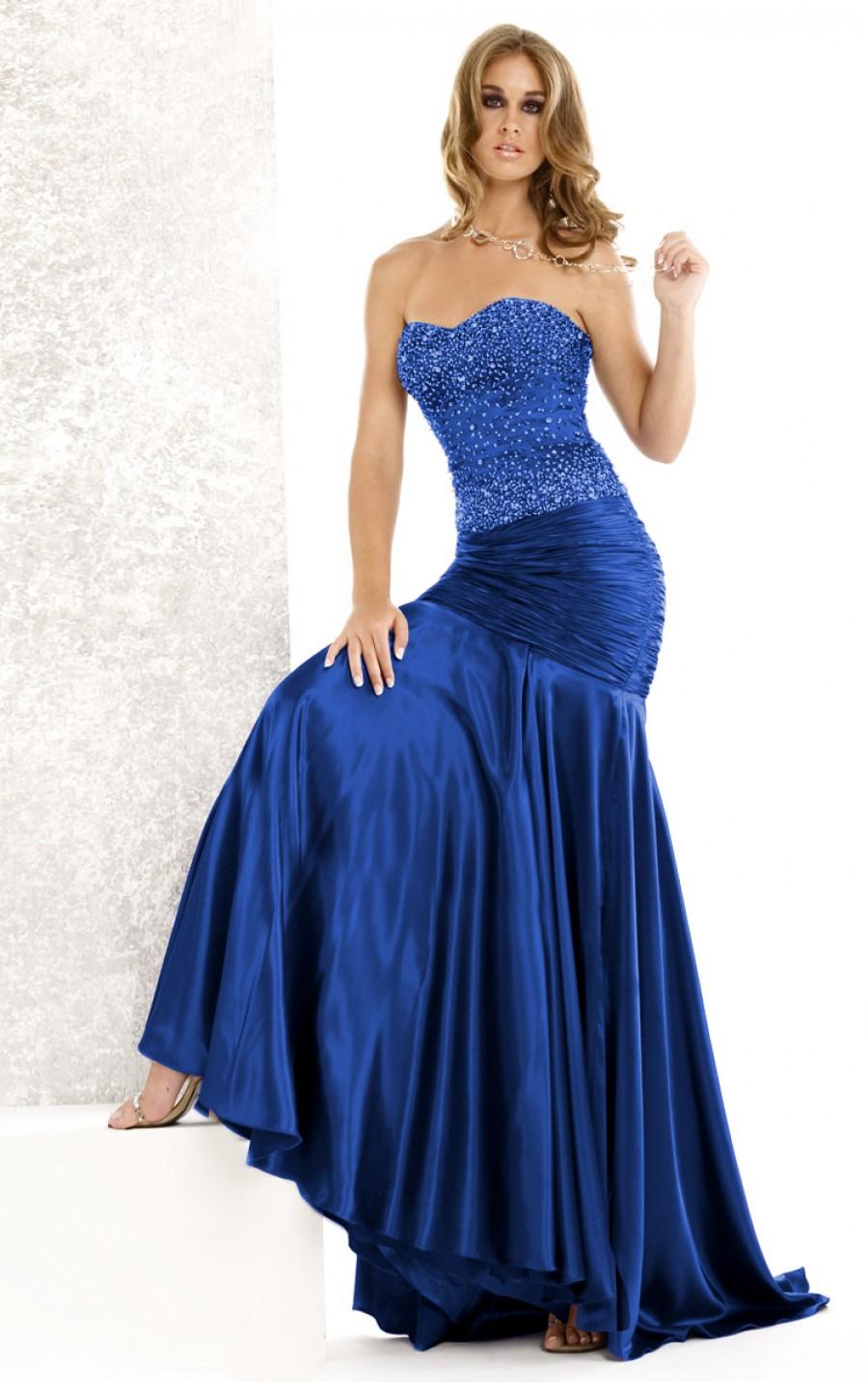 royal blue mermaid wedding dress with strapless neckline