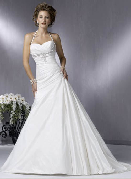simple a-line halter wedding dress