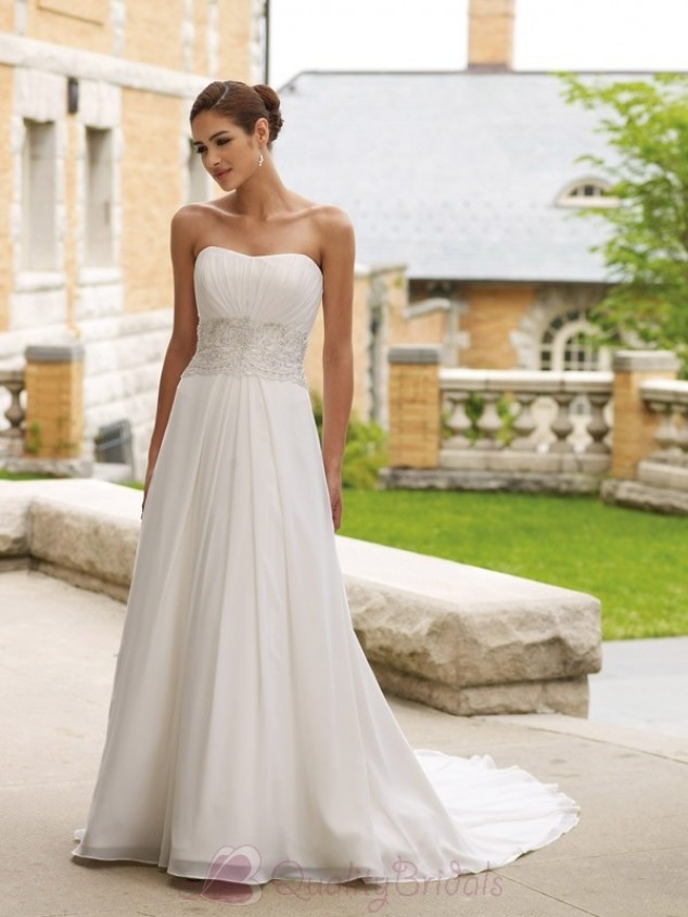 simple a-line strapless wedding dress from chiffon