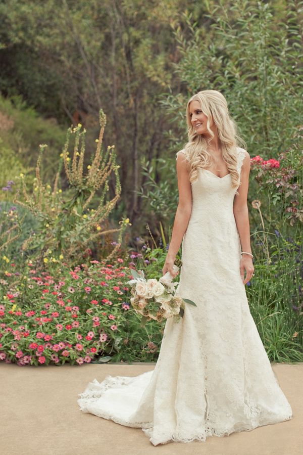 simple full length country wedding dress with straps