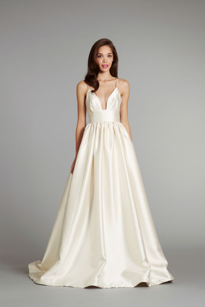 Simple ivory wedding dress with a line silhouette sang for Plain wedding dresses with straps