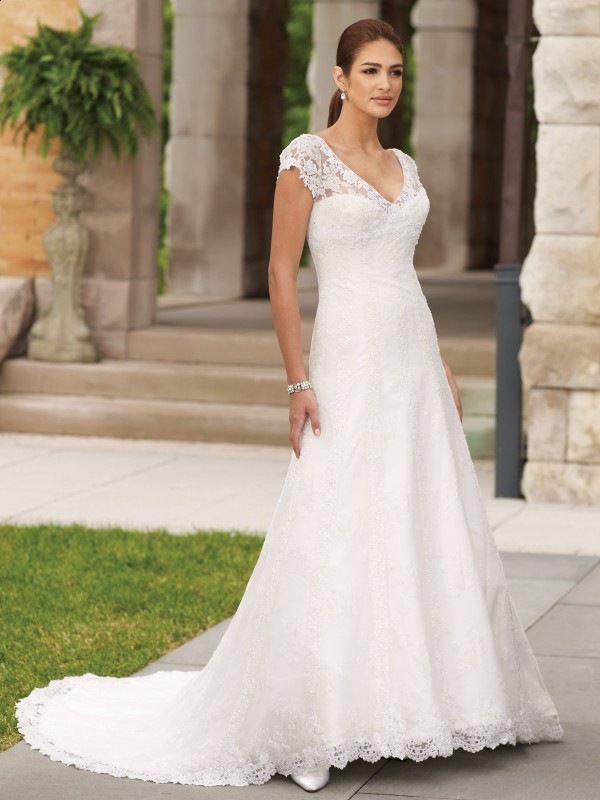 simple lace v-neckline wedding dress with sleeves