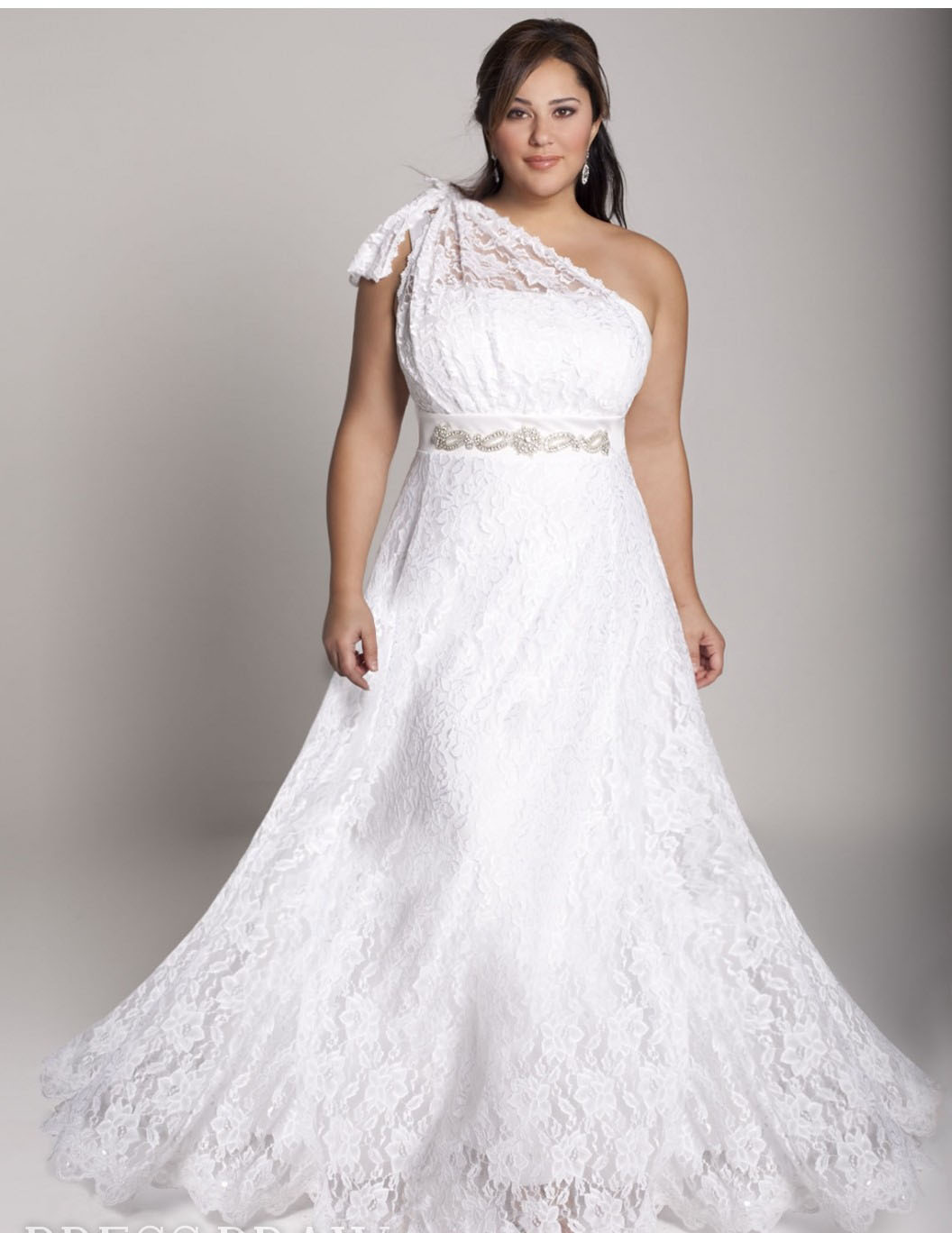 simple plus size wedding dress with one shoulder sang