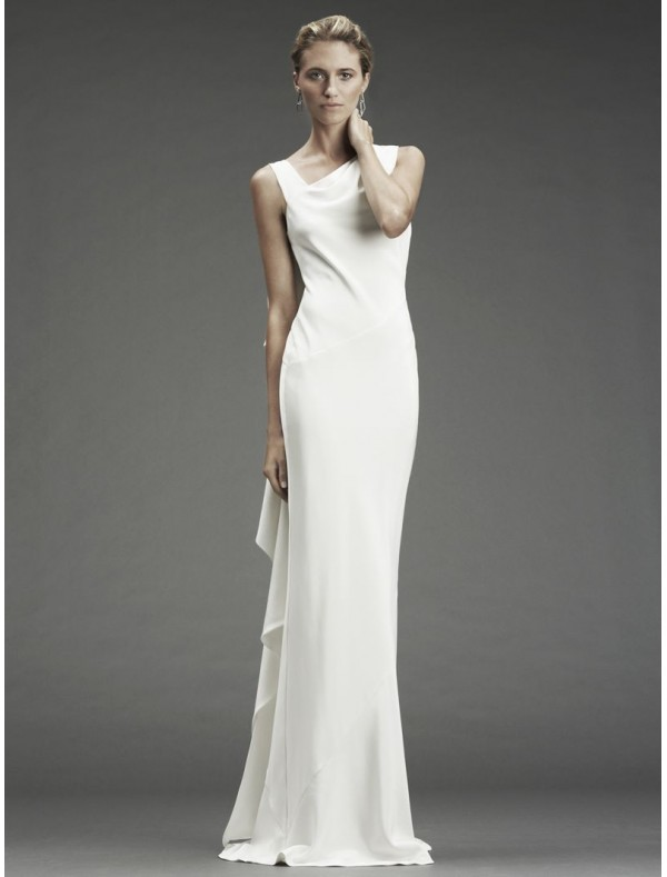 simple satin sleeveless wedding dress with cowl back style