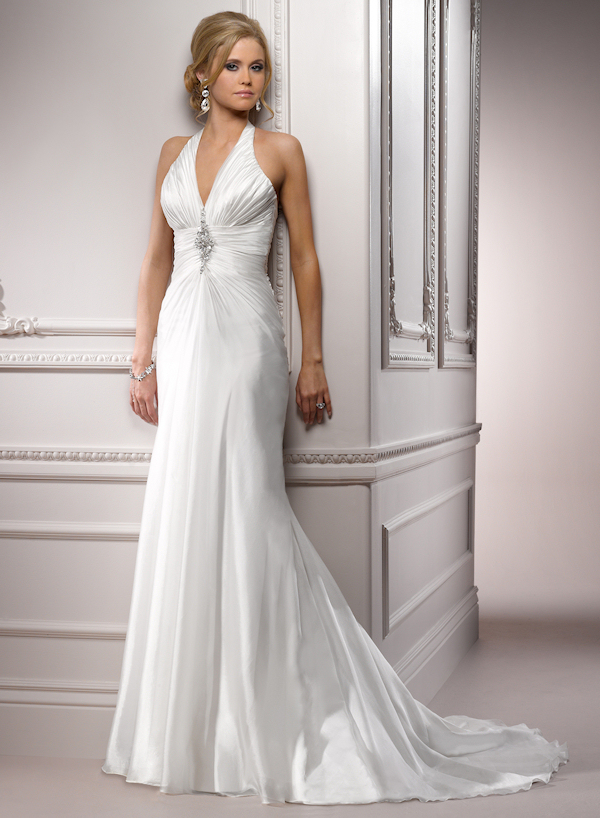 simple silver halter wedding dress